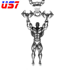 US7 Fitness Dumbbells Punk Vintage Pendant & Necklaces Stainless Steel Sport Bodybuilding Men Charm Necklace for Men Gym Jewelry