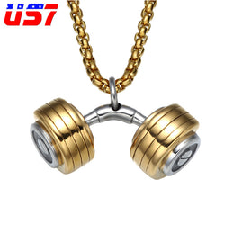 US7 Punk Cool Stainless Steel Fitness Barbell Dumbbell Pendants & Necklaces for Men Bodybuilding Necklaces Sports Gym Jewelry
