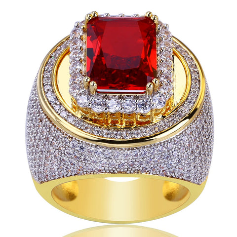 UWIN Red CZ Classic Rings Puffed Marine Micro Bling Iced Out Cubic Zircon Luxury Fashion Hiphop Jewelry Gift