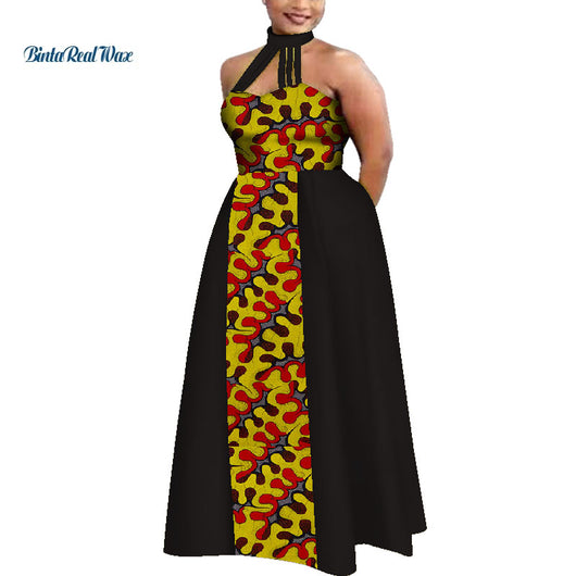 Unique Summer African Dresses  for Women Plus Size Women Custom Clothing Sexy Sleeveless Bazin Yarn Splice Dress WY4069