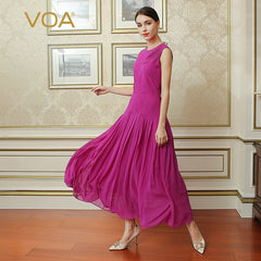 888f01b46d413 VOA 2017 Autumn Solid Red Violet Vintage Boho Plus Size Slim Pleated Dress  Sleeveless Casual Silk ...