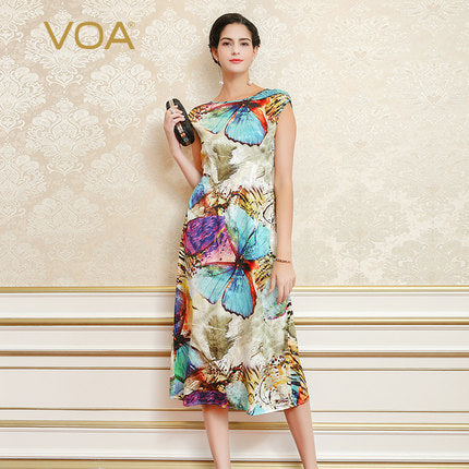Voa 2017 Summer Chinese Style Butterfly Slim Print Dress Plus Size