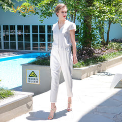 706b0b993384 VOA 2017 Summer Fashion Heavy Silk White Jumpsuits Boyfriend Style Handsome  Cool Solid Brief Casual Suit ...