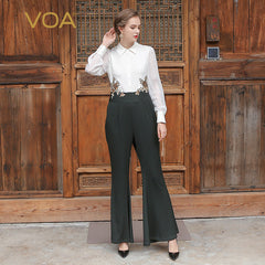 85079d323351 VOA 2017 Summer Heavy Silk Office White Women Jumpsuits Fashion Luxury Long  Sleeve Embroidery Slim Suit ...
