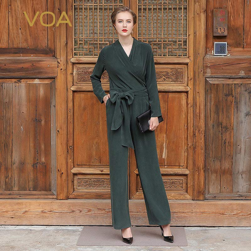 0d171978 VOA 2018 Spring Autumn Fashion Women Casual Plus Size Jumpsuits V-neck Long  Sleeve Silk. Hover to zoom