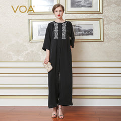 23fee512163 VOA Heavy Silk Embroidery Black Jumpsuits Women Long Jumpsuit Plus Size  Loose 5XL Summer Casual Seven ...