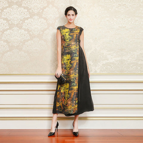VOA Heavy Silk Long Dresses Women Jacquard Dress Vintage Casual Slim Tunic Summer Short Sleeve Black Yellow Plus Size 5XL A7089