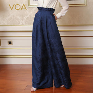 687a300596c VOA Heavy Silk Plus Size 5XL Loose Palazzo Pants Women High Waist Wide Leg  Pants Navy ...