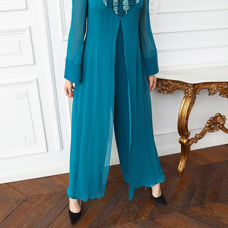 861dca32cba ... VOA Heavy Silk Plus Size Women Sweet Cute Jumpsuit Flare Long Sleeve  Cyan False Two Set ...