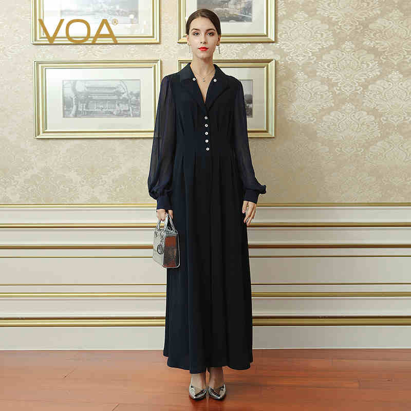 22d69fda VOA Heavy Silk Women Office Jumpsuits Plus Size 5XL Maxi Long Jumpsuit  Solid Navy Blue V. Hover to zoom
