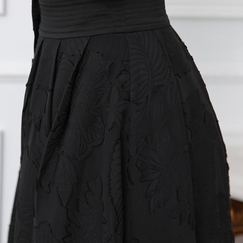 a711cbbd3 ... Image of VOA Silk Embroidery Skirts Black Midi A Line Skirt Women Plus  Size 5XL Basic ...