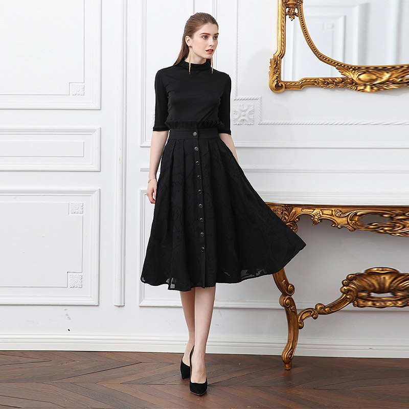0b66351b0 ... Black Midi A Line Skirt Women Plus Size 5XL Basic Solid Office. Hover  to zoom