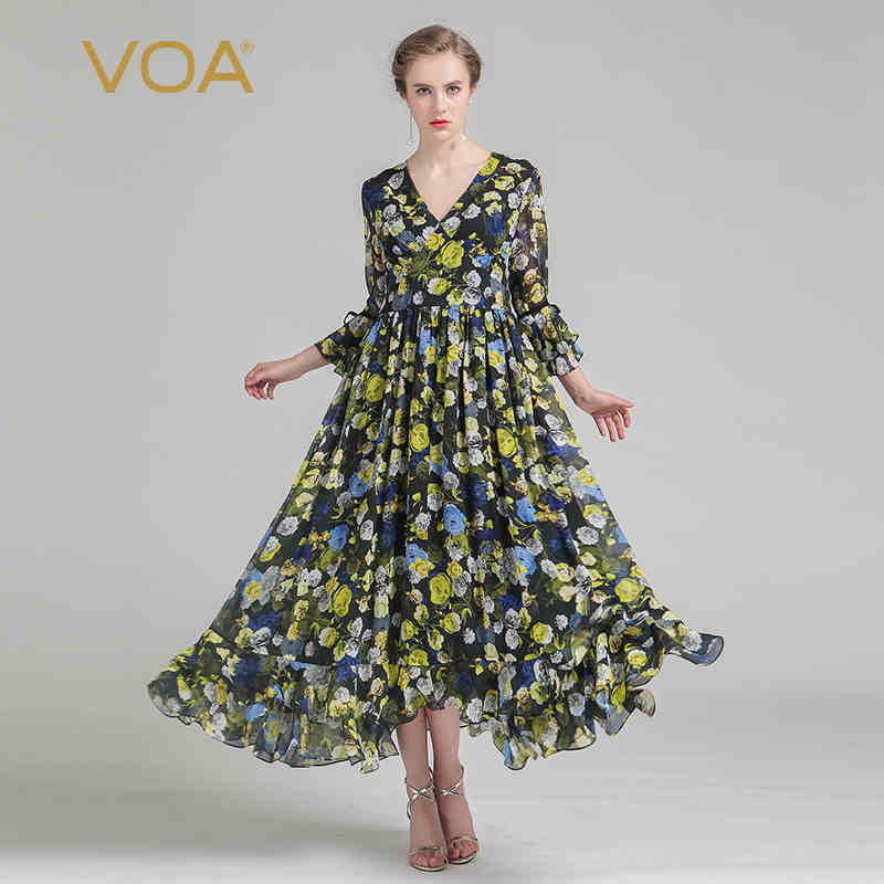 84fbef71f100 VOA Silk Plus Size Women Boho Yellow Print Swing Dress Sexy V Neck ...