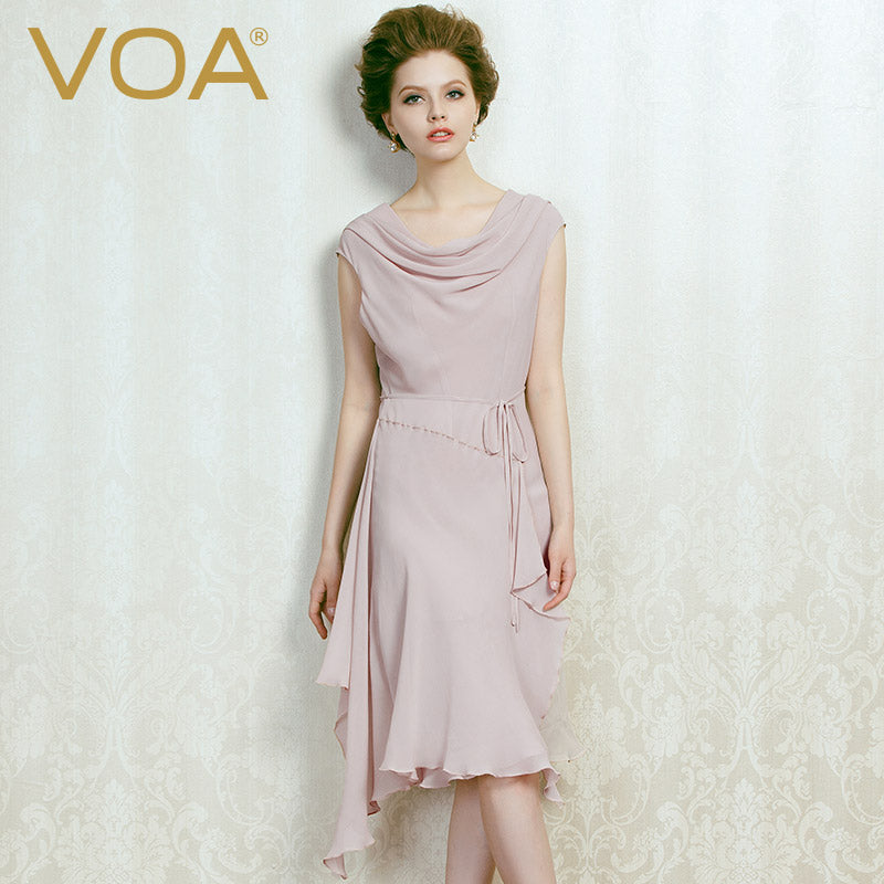 c651e725 VOA summer100 pure chiffon silk irregular double layer dress for women  light blue and pink sleeveless. Hover to zoom