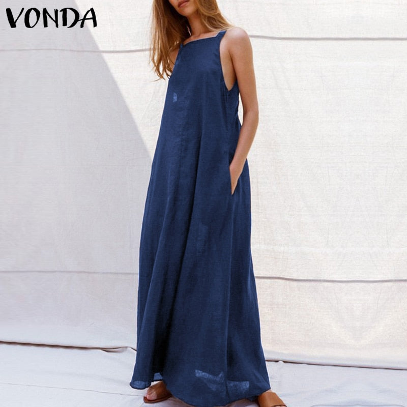 325e3890977aa Hover to zoom · VONDA Sexy Dress Women 2019 Summer Casual Square Neck  Sleeveless Spaghetti Strap Party Long Dresses Holiday