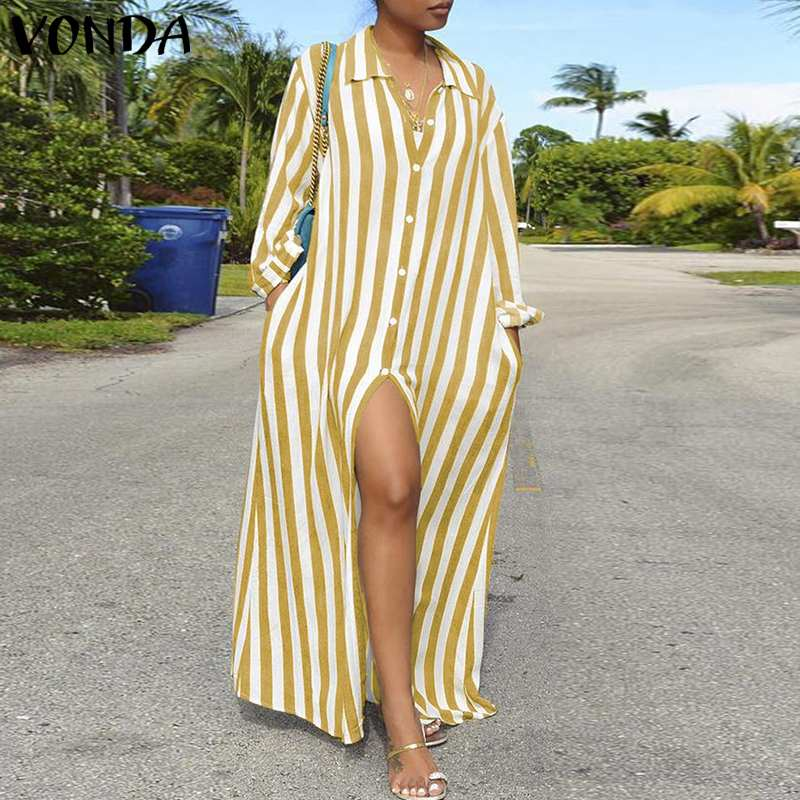 cdb9830bb0d74 VONDA Women Striped Shirt Dress 2019 Autumn Sexy Long Sleeve Lapel Neck  Buttons Split Party Long Dresses Vacation Vestidos 5XL