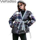 Vefadisa Plaid Woolen Patchwork Parka Woman 2019 Winter Thick Warm Parka Pockets Sashes V-Neck Parka Black Streetwear QYF1369