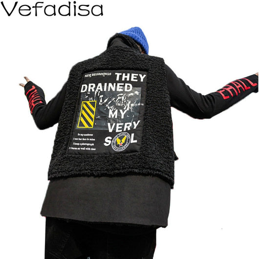 Vefadisa Polar Fleece Fabric Vest Woman 2019 Winter Thick Sleeveless Coat Letter Printed Big Pockets Vest Coat Black QYF1365