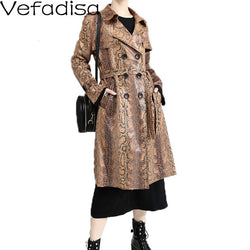 Vefadisa Snake Print Windbreaker Woman 2019 Winter Sashes PU Windbreaker Double Breasted PU Leather Coat Long Brown QYF1372