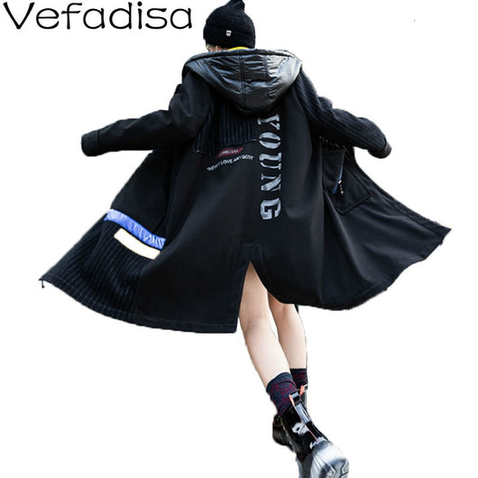 Vefadisa Striped Hooded Wool Coat Woman 2019 Winter Thick Warm Coat Pocket Letter Printed Slim Coat Black Female QYF1362