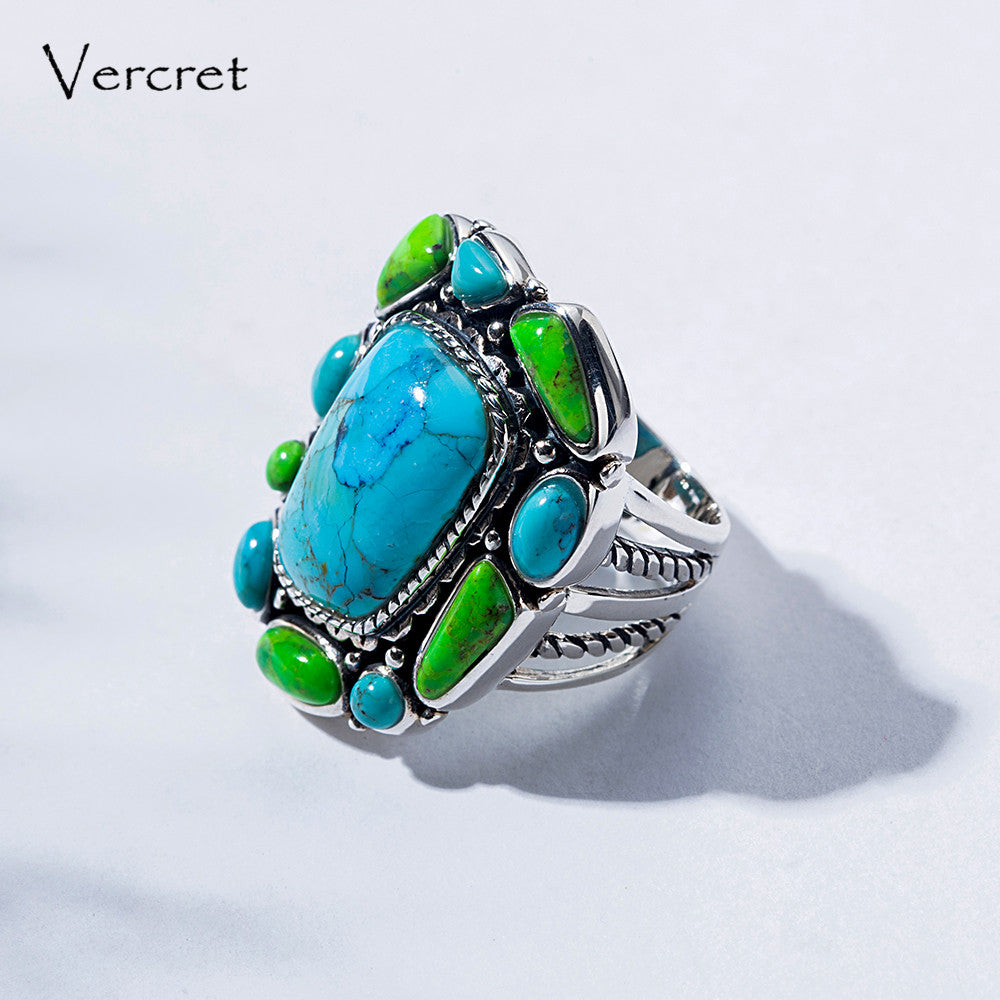 925 Sterling  Silver Brand   New  !! Turquoise  Bow   Stone   Ring   !