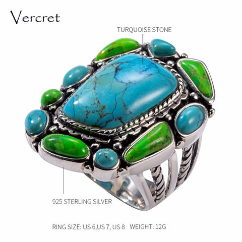Vercret Vintage 925 Sterling Silver Turquoise Ring for Women Wedding Indian Native American Stone Ring