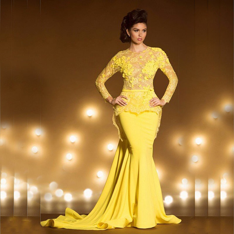 c7e71d28f2c37 Vestido de Festa Longo Yellow Lace Mermaid Women Evening Long Sleeve Prom  gown See Through Casamento mother of the bride dresses