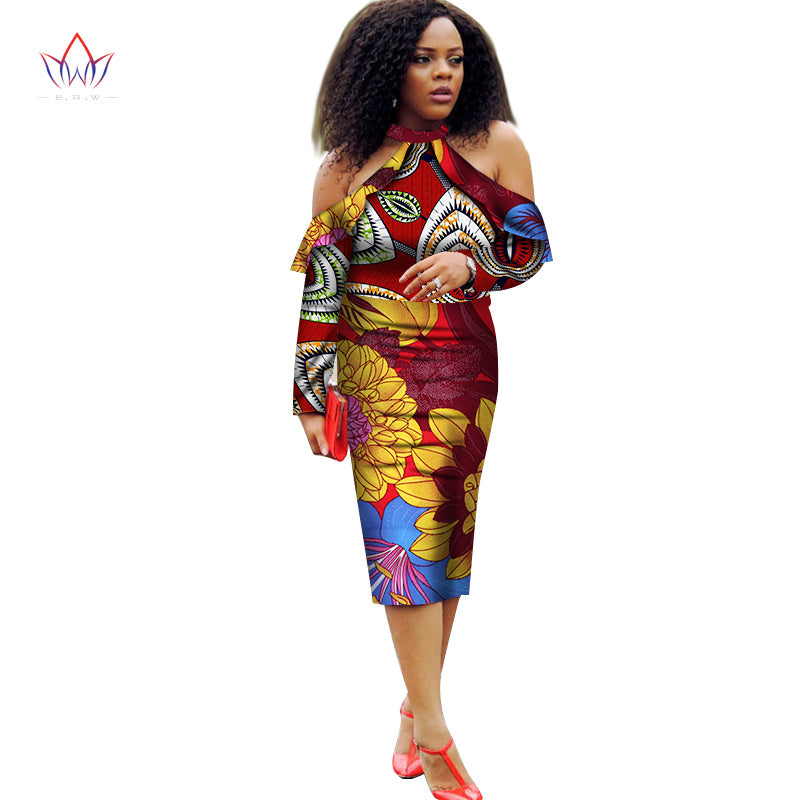 b72111a24db Hover to zoom · Vestidos African Women Dresses 2018 New Fashion Off the  Shoulder African Clothing Dashiki Plus Size Sexy