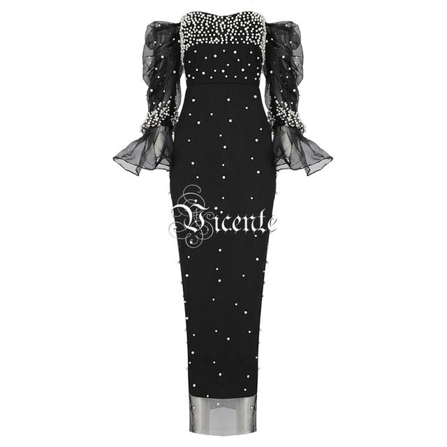 b5ceeec08faf ... Vicente 2019 New Chic All-over Pearl Design Long Dress Sexy Off The  Shoulder Long