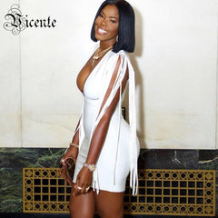 45446d2cd3bc Vicente HOT Stylish White Tassels Mini Dress Sexy V-neck Long Sleeves  Wholesale Celebrity Party