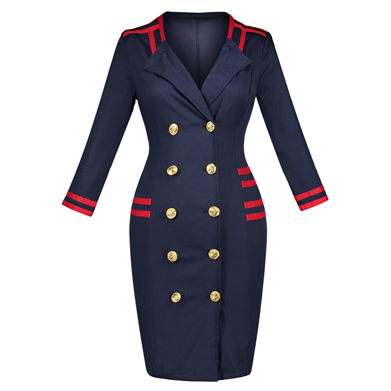 fc3dc54347ba Vintacy Women Formal Bodycon Dress Autumn Vintage Double Breasted Knee  Length Sheath Lady Long Sleeve Elegant. Hover to zoom