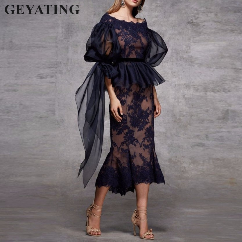 109d53cc4f39 ... Dresses with Long Sleeves Peplum Elegant Tea Length Short Evening Party.  Hover to zoom