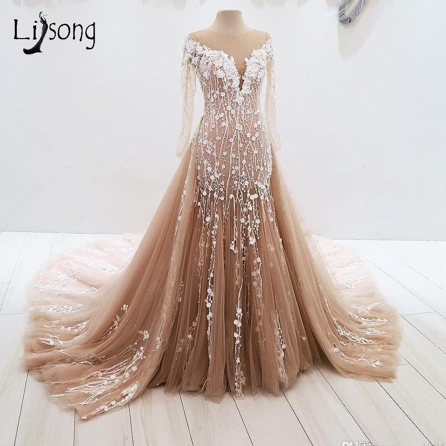 c9f5069353 Hover to zoom · Vintage Champagne Lace Mermaid Evening Dresses With  Detachable Train Long Evening Gown Full Sleeves 3D Flower