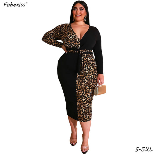 Vintage Leopard Dresses For Women Party Night Long Sleeve ...
