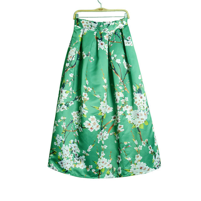 63714957cccb Hover to zoom · Vintage Muslim Women 100cm Long Maxi Skirt 2016 Fashion Pleated  Floral Printed High Waist Women Flared