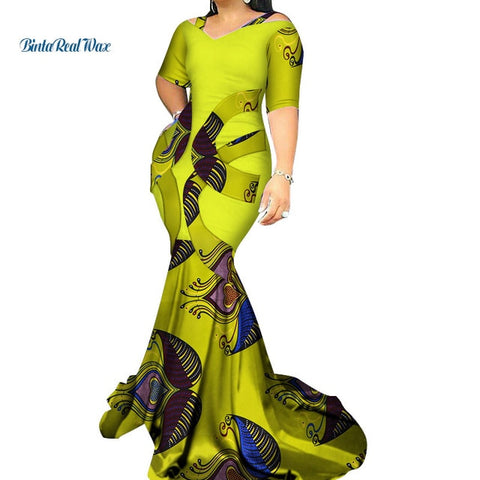 Vintage Patchwork Long Mermaid Dress Bazin Riche African Print Dresses for Women Party Vestidos African Style Clothing WY3338