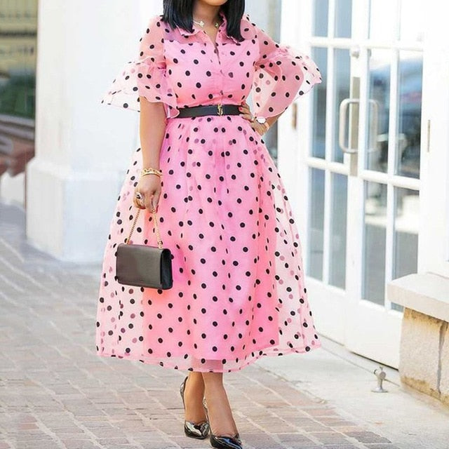 753bfb0f8c55 Vintage Polka Dot Dress Elegant Women Summer 2019 Pink Flare Sleeve Casual  Retro A Line Robe. Hover to zoom
