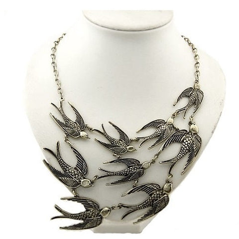 Vintage Style Jewelry Alloy Bronze 9 Swallows Sparrow Birds Pendant Necklace