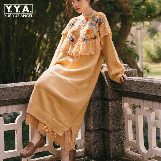Vintage Women Ankle Length Knitwear Long Dress Casual Crochet Trimmed Flowers Embroidery Loose Dresses Puff Sleeve Knitted Dress