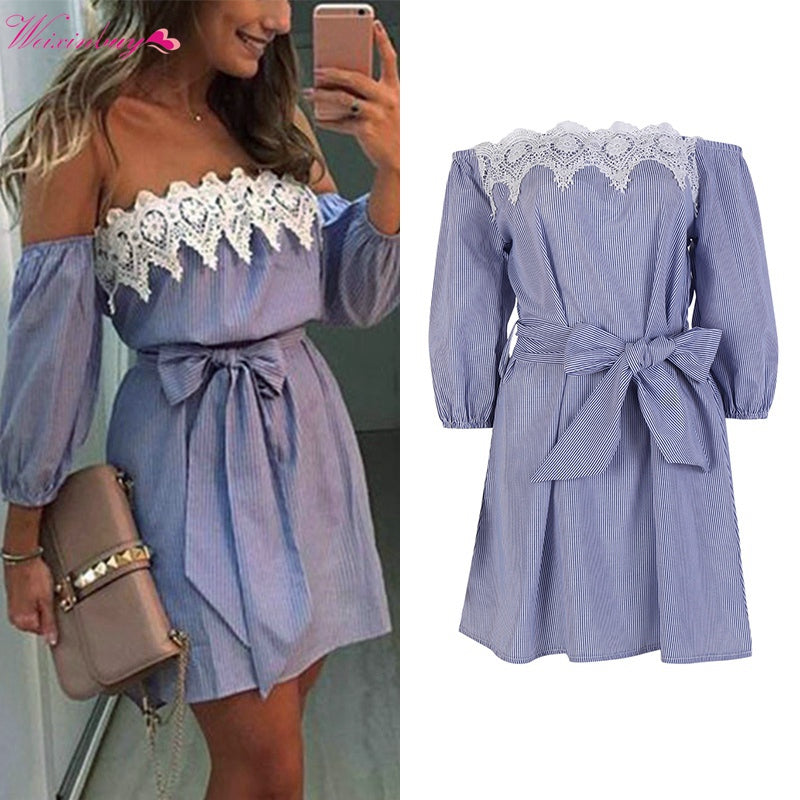 b4d5a6d6b338 Hover to zoom · WEIXINBUY 2018 Summer Boho Women Sexy Lace Off Shoulder  Bowknot Dress Bodycon Party Evening Beach Short