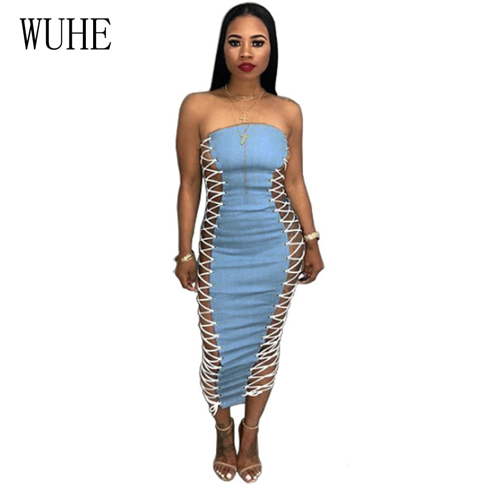 7976349502 WUHE 2018 Summer Women Sexy Denim Dresses Strapless Side Lace Up Bodycon  Club Party Dress Backless ...