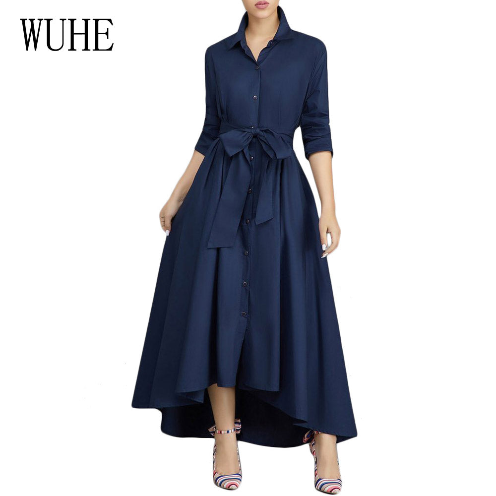 bafafd59a41 ... Women Solid Asymmetrical Maxi Dress Buttoned Belted High Waist Dresses  Office. Hover to zoom