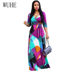 WUHE Boho Geometric Print Maxi Dress Summer Sexy V Neck 3/4 Sleeve Loose Vintage Long Dress Women Elegant Party Dresses Vestidos