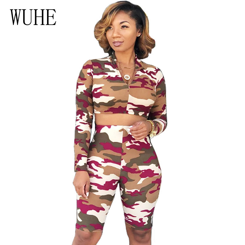 b421f385a9d8 ... WUHE Camouflage Printed Jumpsuit Short Pants Romper Two Piece Set Long  Sleeve Skinny Playsuits 2018 Autumn