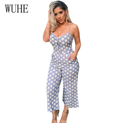 f13eca094a2 WUHE Dot Print Wide Leg Rompers Womens Jumpsuit V Neck Bow Knot Sleeveless  Summer Spaghetti Strap ...