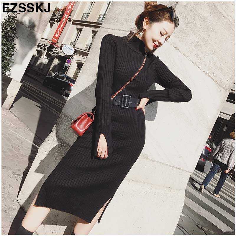 5461aa5222 Hover to zoom · Warm Charm Women split side Sweater Dress 2018 Fall Winter  Long Sexy Lurex Bodycon Dresses with