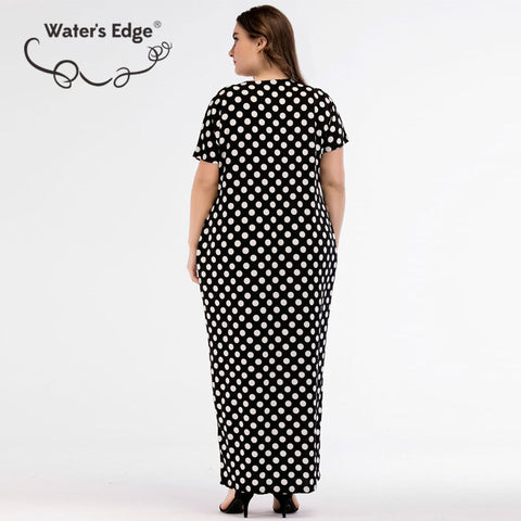 7989d903b7db ... Image of Water's Edge Plus Size Polka Dot Dress 4XL Long Casual summer  dresses Large Size ...