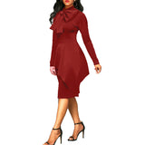 Wear to work Dress For Womens Bow Tie Neck Peplum High Waist Long Sleeve Pencil Solid Office Ladies Bodycon Dress Vestido EY11