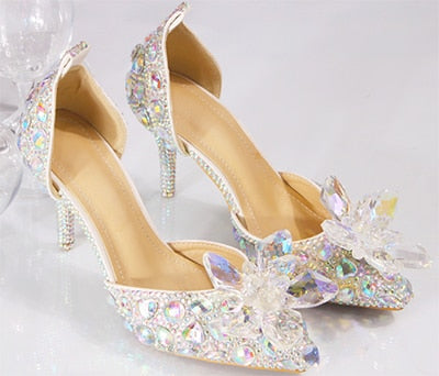 Wedding Sandals For Bride.Wedding Shoes Bride Women Summer Sandals Crystal News Lady Big Size High Heels Princess Shoes Silver Red Colorful Discolora Shoe