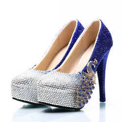 Wedding Shoes New Arrival Platform High Heel Shoes Stiletto Heel Royal Blue with Silver Rhinestone Bride Dress Shoes Big Size 45